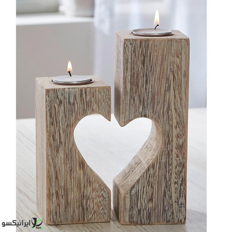 جا شمعی دو عددی طرح قلب جدا