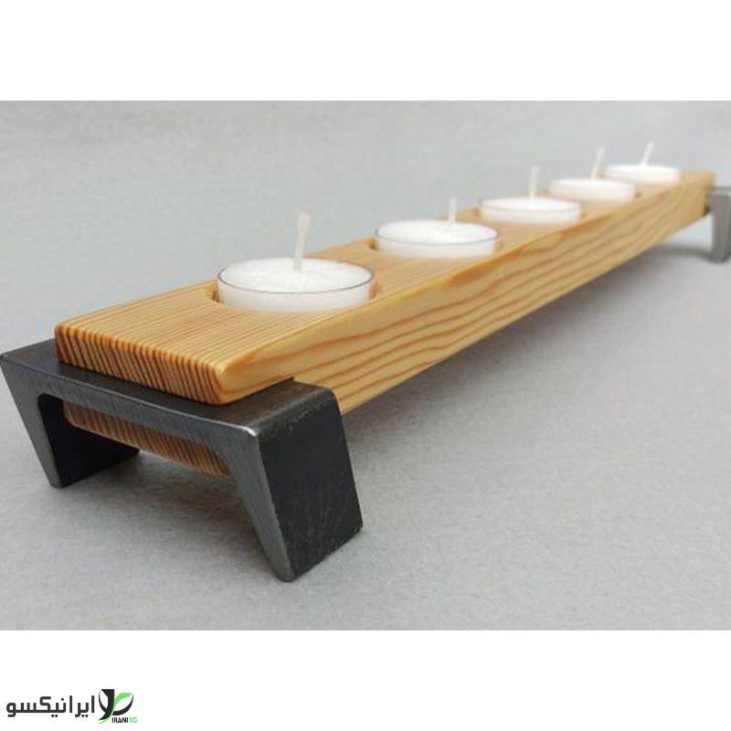 جا شمعی 5 عددی چوب و فلز