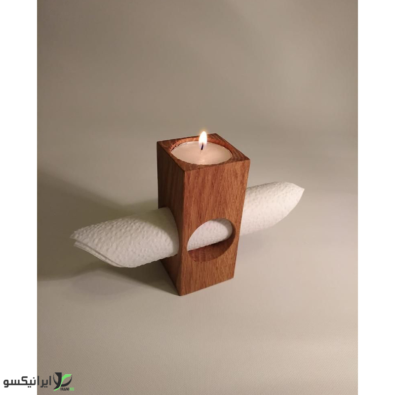 جا شمعی چوبی همراه با هولدر دستمال