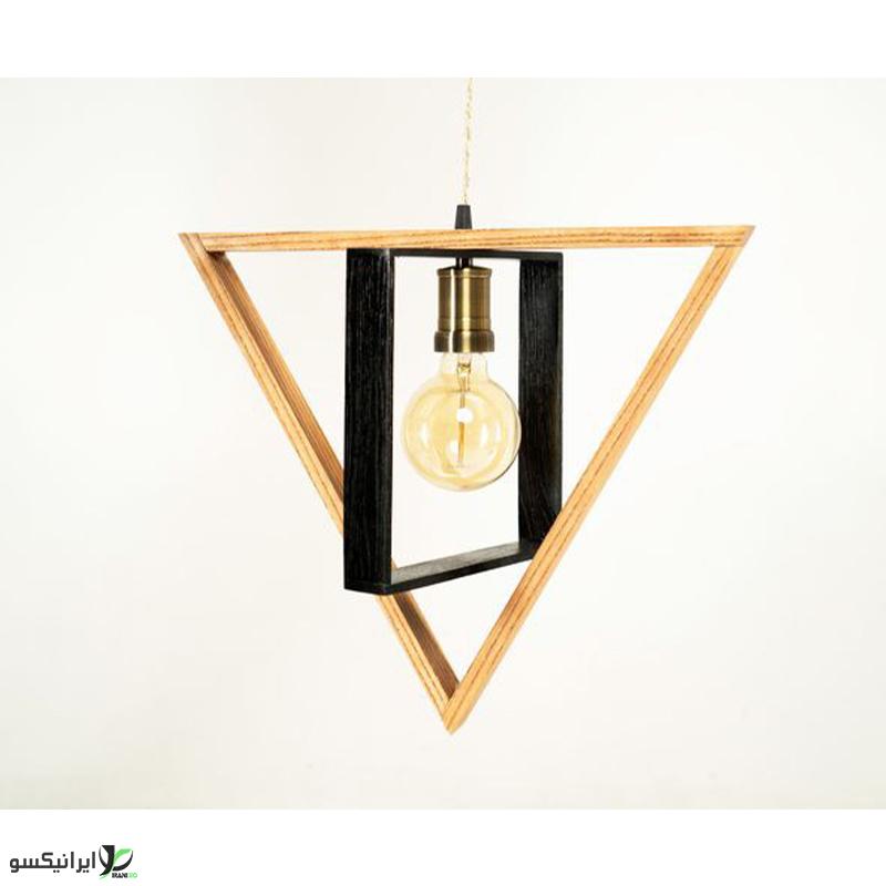 لوستر آویز چوبی طرح مثلث و مستطیل