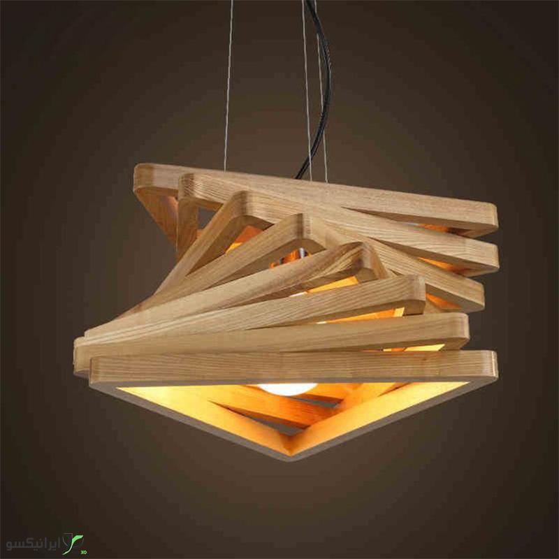 لوستر آویز چوبی طرح مثلث هشت عددی