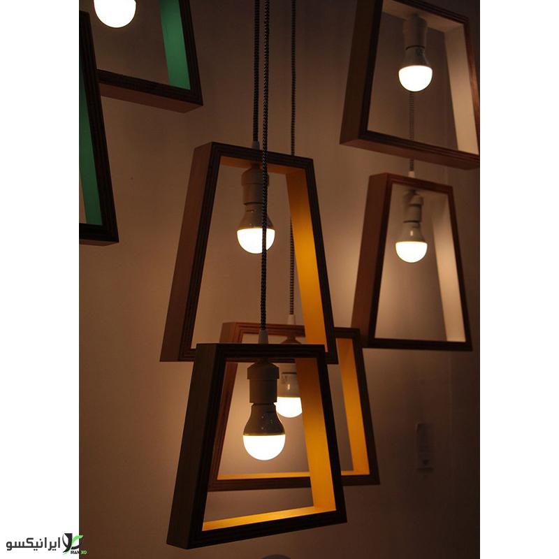 لوستر آویز چوبی طرح ذوزنقه