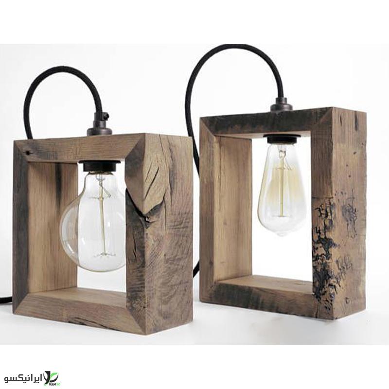 چراغ خواب چوبی مربعی با چوب جنگلی