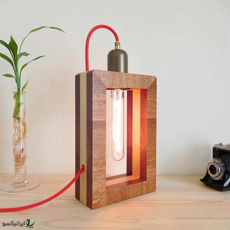 چراغ خواب چوبی مستطیلی ترکیبی