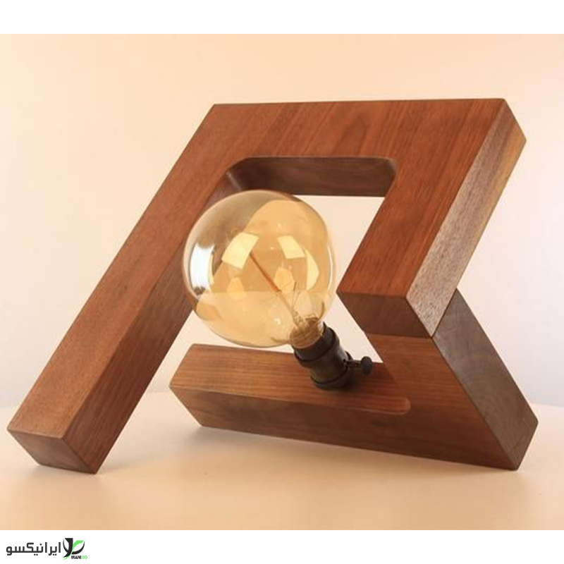 چراغ خواب چوبی فانتزی با سر پیچ ادیسونی