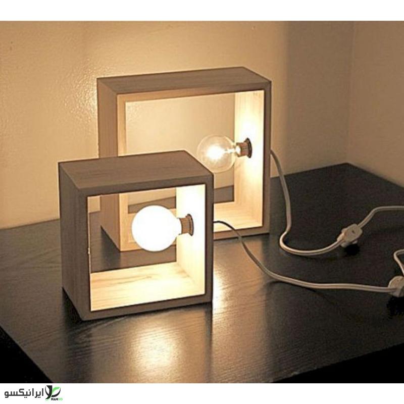 چراغ خواب چوبی مربعی