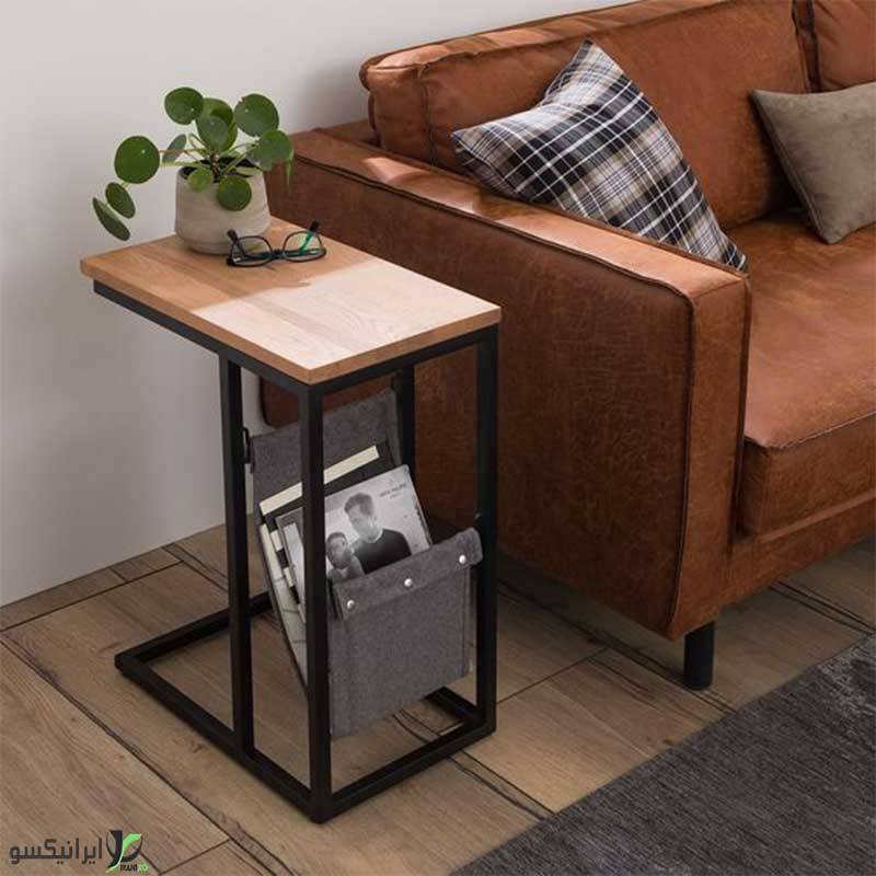 میز عسلی چوب و فلز مدل چیتا