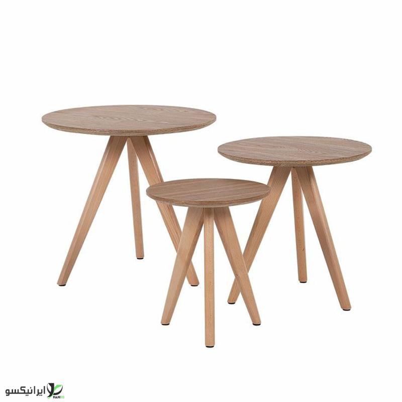 میز وسط سه تیکه چوبی مدل دایره ای
