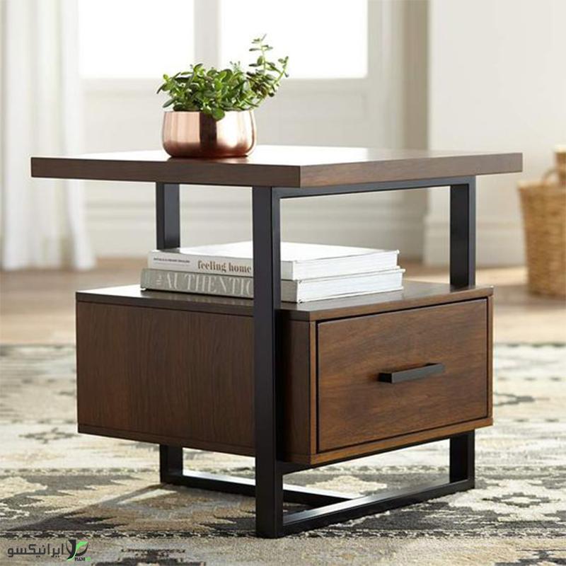 میز عسلی چوب و فلز مدل Bettina