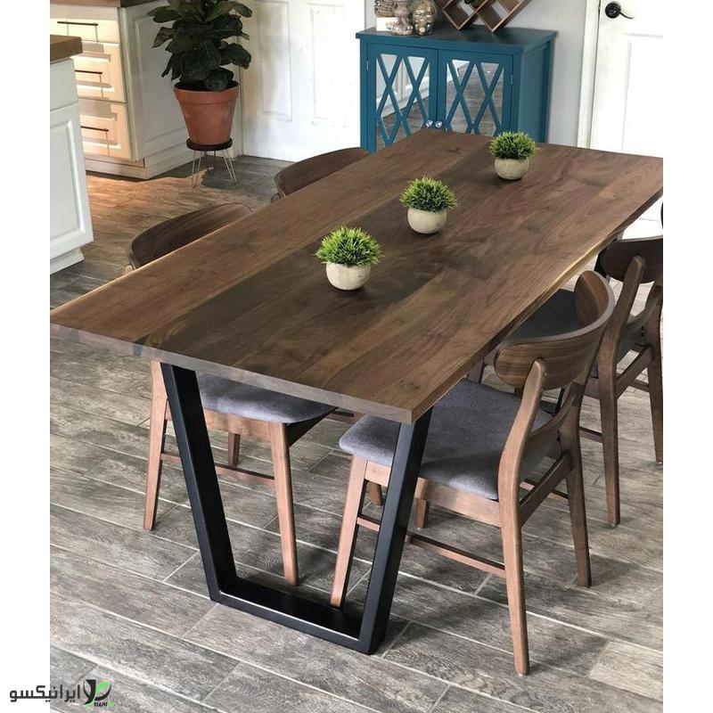 میز ناهار خوری چوب و فلز مدل واندا
