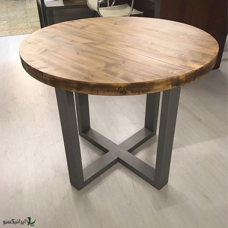 میز ناهار خوری چوب و فلز مدل سیرکالا