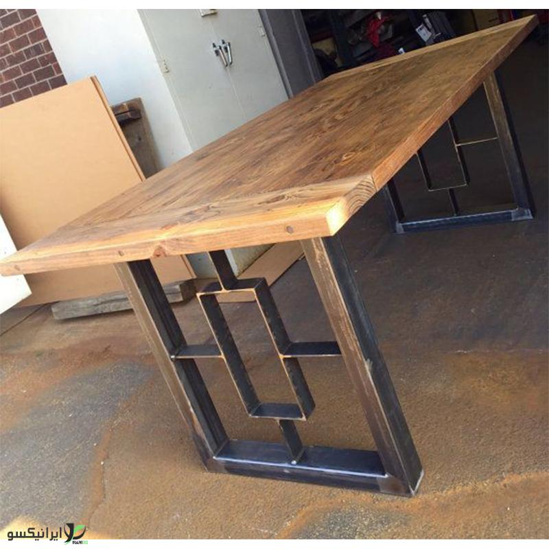 میز ناهار خوری چوب و فلز مدل دیورا