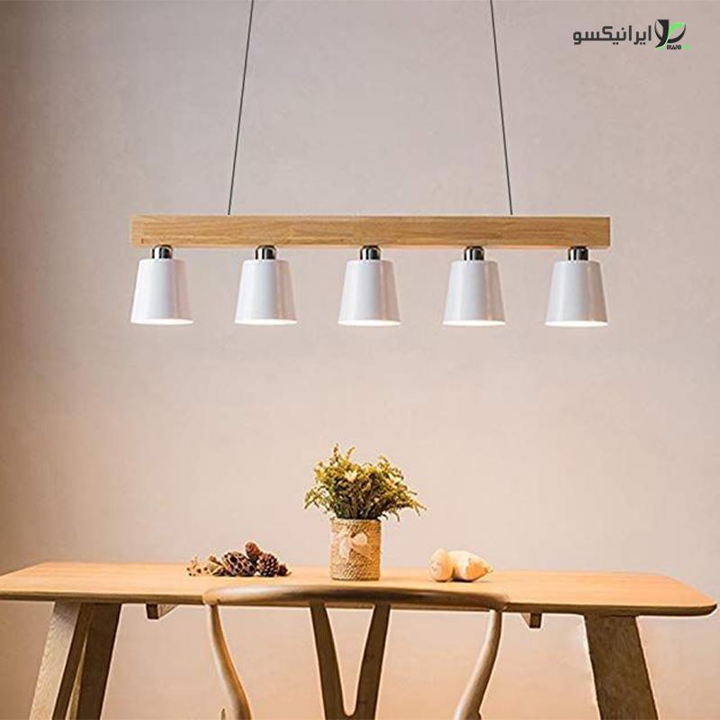 لوستر آویز سقفی مدل ویولا پنج لامپ