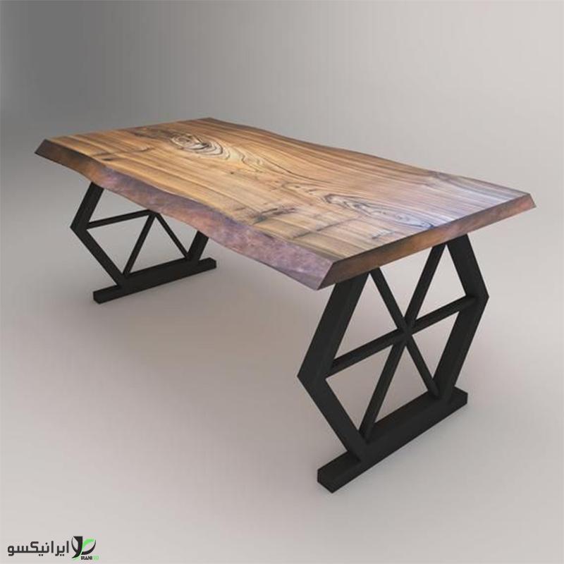 میز ناهار خوری چوب و فلز مدل مارسل