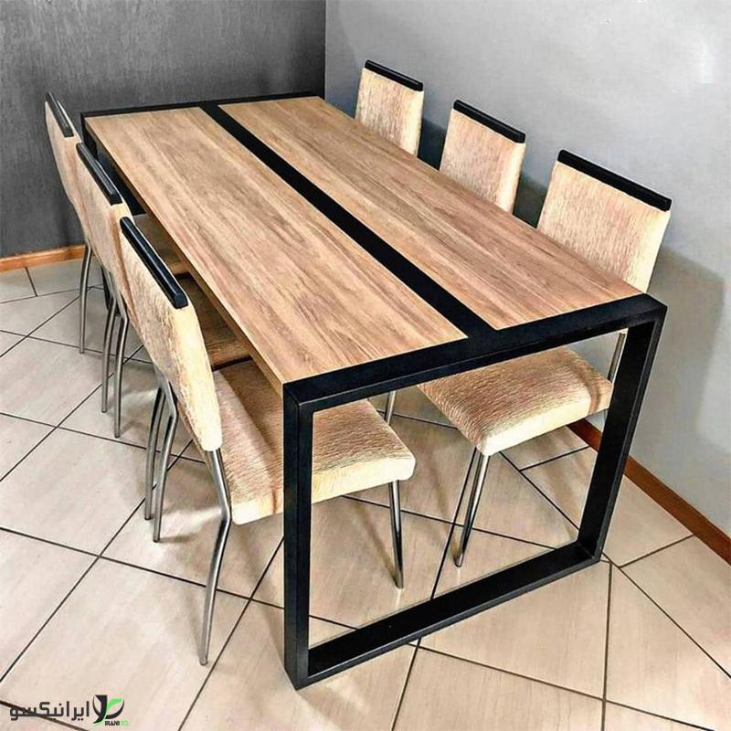 میز ناهار خوری چوب و فلز مدل کاپرسا