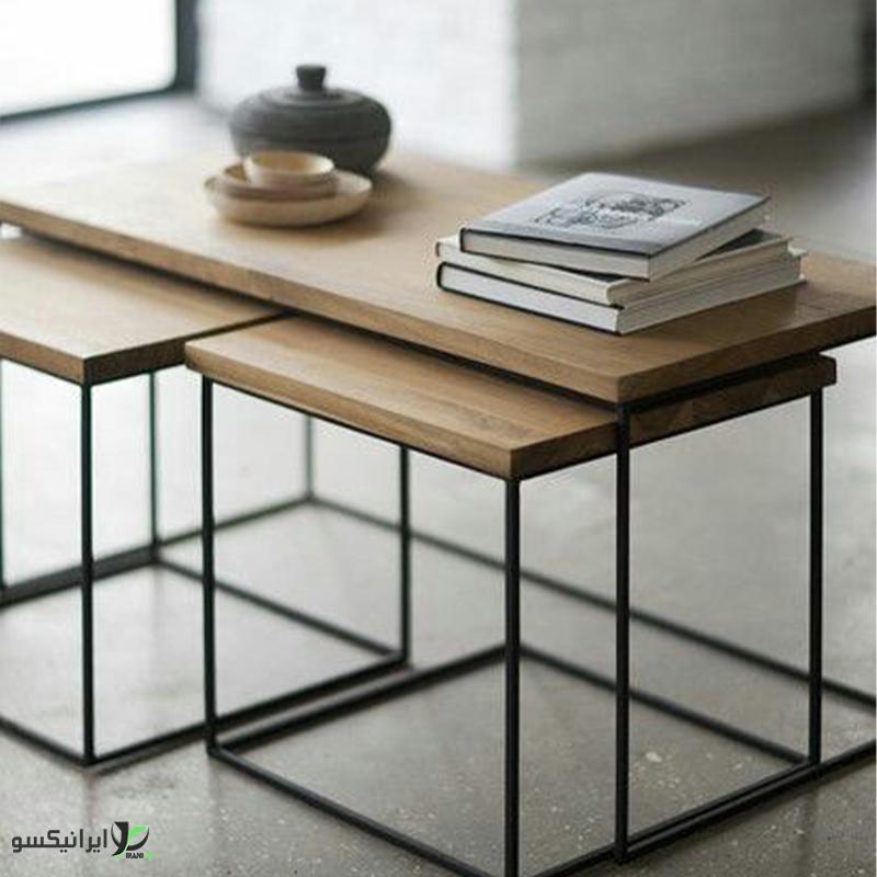 میز ناهار خوری و مطالعه چوب و فلز مدل collo