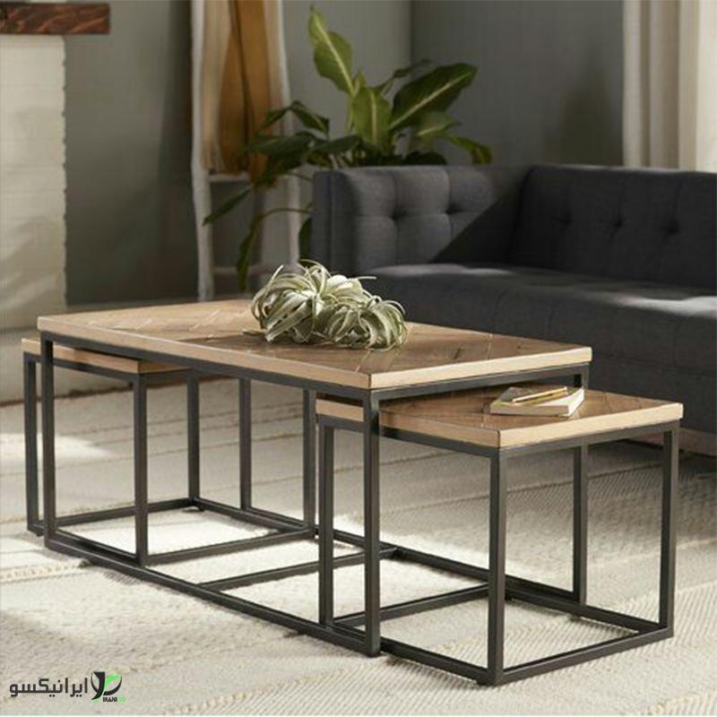 میز ناهار خوری چوب و فلز مدل mento