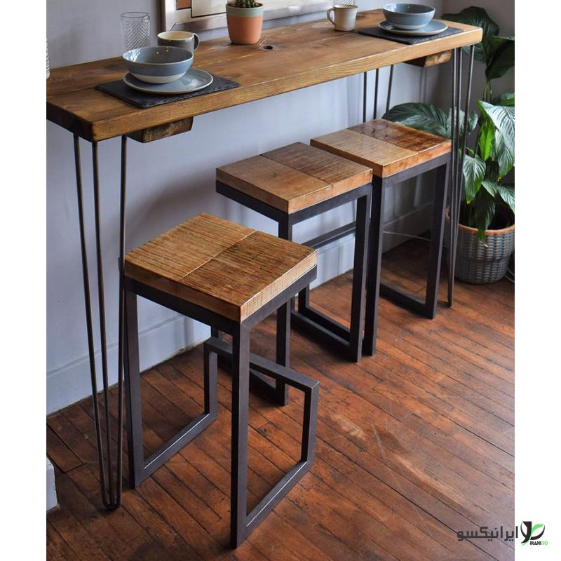 صندلی و میز چوب و فلز مدل manno