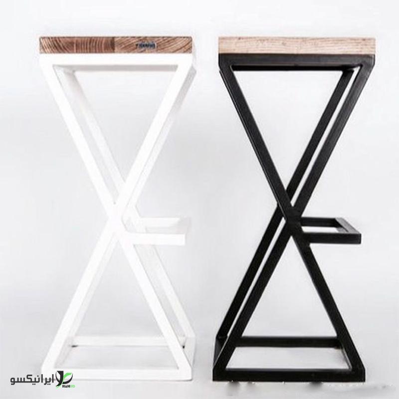 صندلی چوب و فلز مدل x